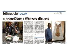 """Exposition chez Les Frangines : DIX ANS - DIX JOURS """" de l'association """"encreD'art""""                                  du 1er au 10 mai 2019"""